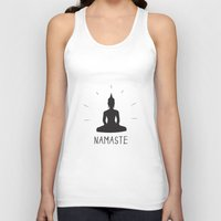 namaste Tank Tops featuring NAMASTE by MantiniDesign