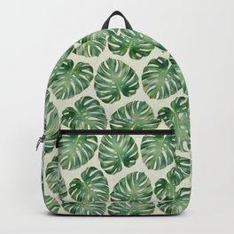 Tropical monstera leaves Backpack