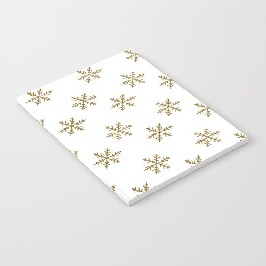 Merry christmas- Gold glitter snowflakes- Winter pattern Notebook