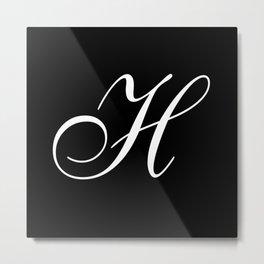 Elegant And Stylish Black And White Monogram H Metal Print
