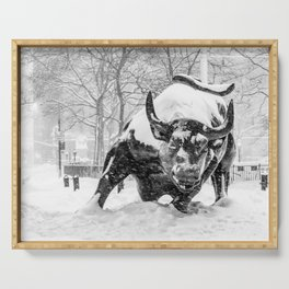 The Charging Bull, In the snow. Serving Tray