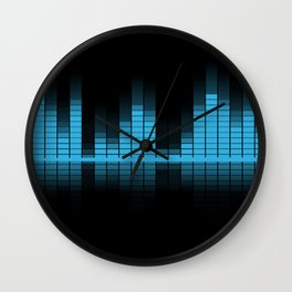 Cool Blue Graphic Equalizer Music on black Wall Clock
