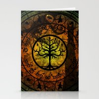 gondor Stationery Cards featuring Tree of Gondor Stained Glass by Mazuki Arts
