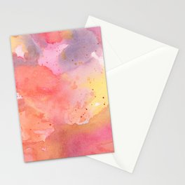 Sunset Color Palette Abstract Watercolor Painting Stationery Cards