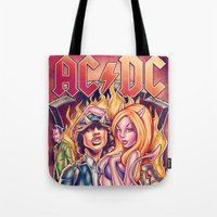 acdc Tote Bags featuring Highway to ACDC by Renato Cunha