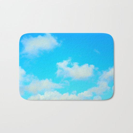 White Clouds Bright Blue Sky Bath Mat
