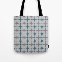 Mid Century Modern Star Pattern Grey and Blue Tote Bag