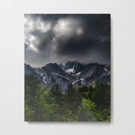 Stormy skies above mountains and spring forest Metal Print