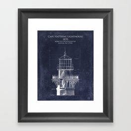 Cape Hatteras Lighthouse Tower Elevation and Blueprint Framed Art Print