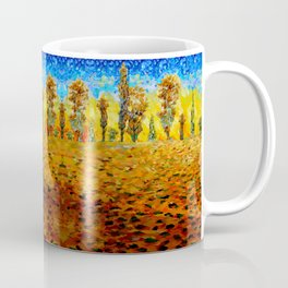 Blue phone Booth at Fall Grass Field Painting Coffee Mug