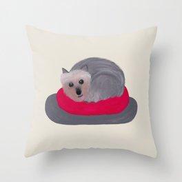 Yorkie Donut Throw Pillow
