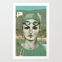 swim Art Prints featuring SWIM by Camila Fernandez