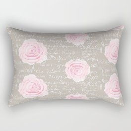 Watercolor roses on Taupe with French script Rectangular Pillow