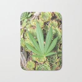 Succulent Sativa Leaf Trippy Pot Leaf Bath Mat