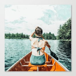 Row Your Own Boat #illustration #decor #painting Canvas Print