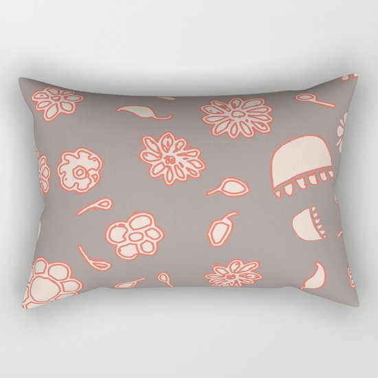 floral black and red Rectangular Pillow