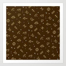 Star Constellation - Star Signs Drawing Brown Art Print
