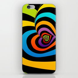 Valentine hearts twirling in rainbow colors iPhone Skin
