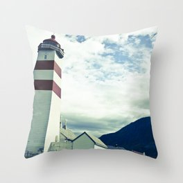 Lighthouse in norway Throw Pillow