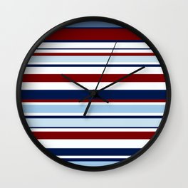 Nautical Stripes - Blue Red White Wall Clock