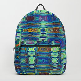 Abstract High Texture Weaving Pattern Blue Green Backpack