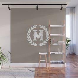 Beige Monogram: Letter M Wall Mural