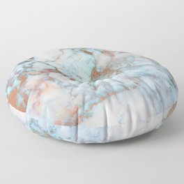 Rose Marble with Rose Gold Veins and Blue-Green Tones Floor Pillow