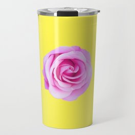 pink rose with yellow background Travel Mug