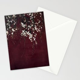 blossoms on ruby red Stationery Cards