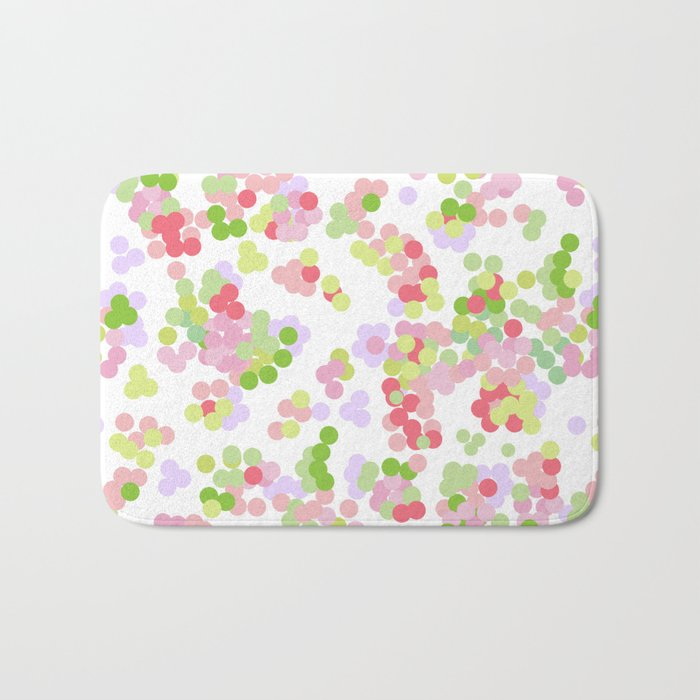 Pointillism . Pink and green . Bath Mat