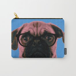 Geek Pug with Glasses in Blue Background Carry-All Pouch