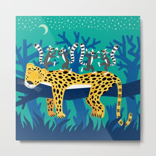 The Leopard and The Lemurs Metal Print