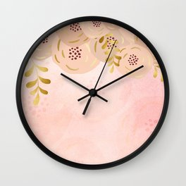 Misty rose gold floral Wall Clock
