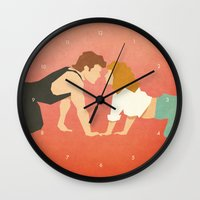 dirty dancing Wall Clocks featuring Dirty Dancing (80's Minimalism Series) by Trevor Downs