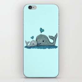 Whale Mom and Baby with Hearts in Gray and Turquoise iPhone Skin