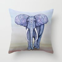 ornate elephant Throw Pillows featuring Ornate Elephant by Katelynn Clarey