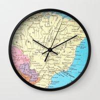 brazil Wall Clocks featuring Brazil by inourgardentoo