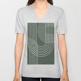 Minimalist Lines & Forest Green BG Unisex V-Neck