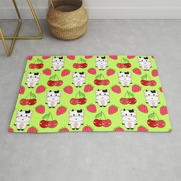 Cute funny sweet adorable happy baby cows, little cherries and red ripe summer strawberries cartoon fantasy lime green pattern design Rug