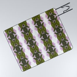 Pink Azalea Flowers with Spring Green Leaves Picnic Blanket