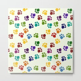 Rainbow Paw Prints Metal Print