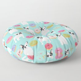 French Bulldog cute mint pastel cute donuts sweet treat doughnuts junk food dessert foods and dogs Floor Pillow