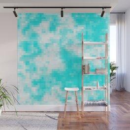 Bubblegum blue cloud pixels Wall Mural