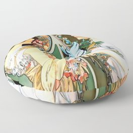 "Alphonse Mucha ""Primrose and Feather"" Floor Pillow"