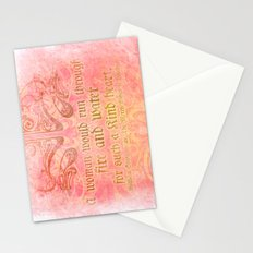 A woman would run through fire - Shakepeare Love Quote Stationery Cards