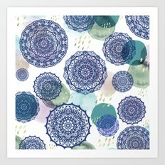 Fall Love Mandala in Blue Art Print