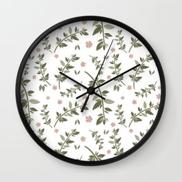 Pink Ferns Wall Clock