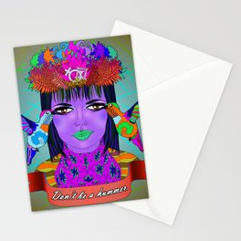 Don't Be a Hummer- Woman and Hummingbird Feminist Portrait Stationery Cards
