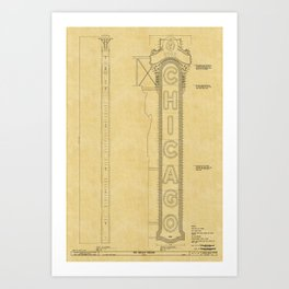 Chicago Theatre Blueprint Art Print