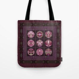 Red Shiso Positive Messages Quilt Art Tote Bag